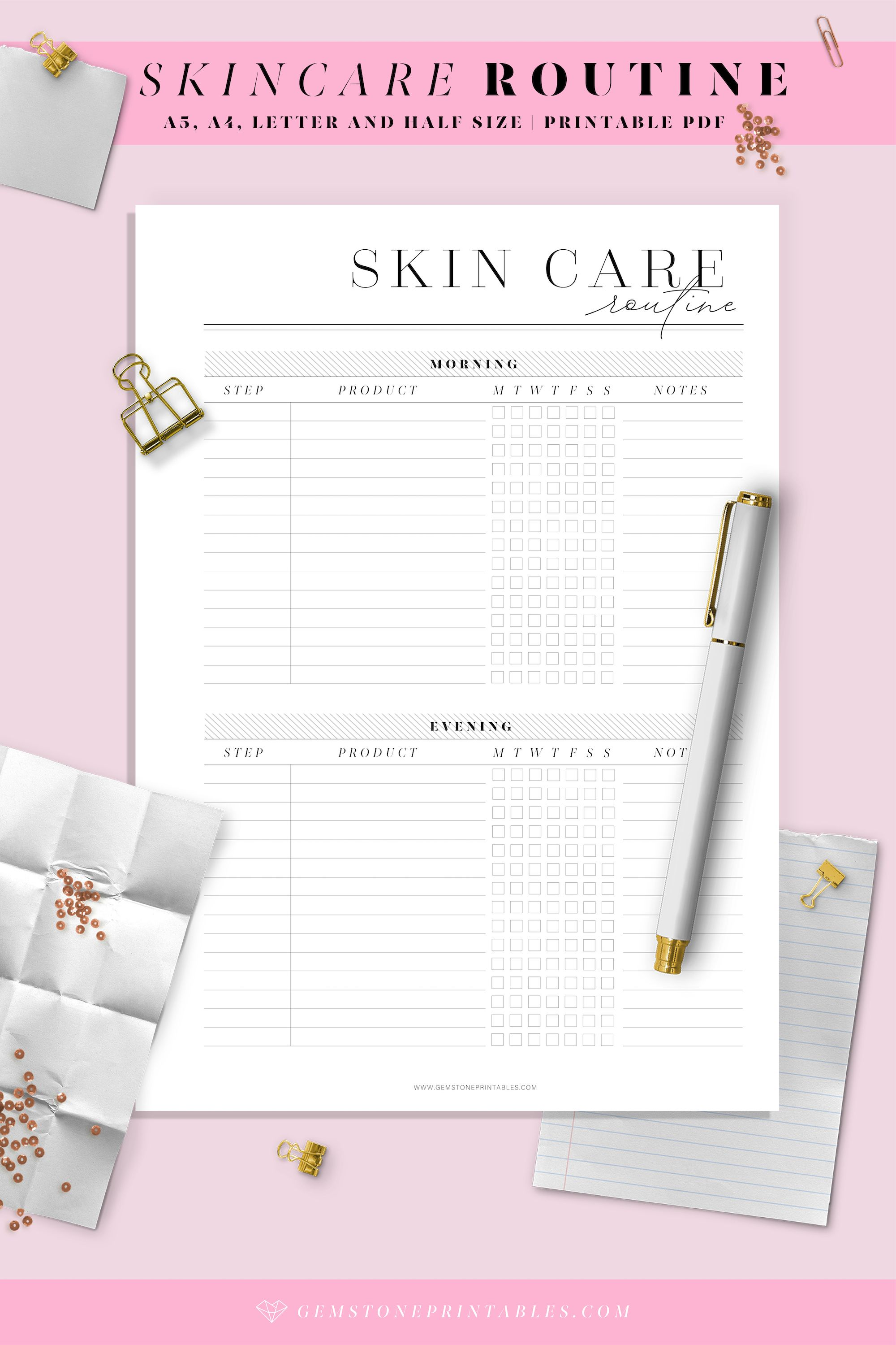 Skincare Routine Planner Printable Planner Template Beauty Planner Template Recipe Cards Template Recipe Cards Printable Templates Printable Planner