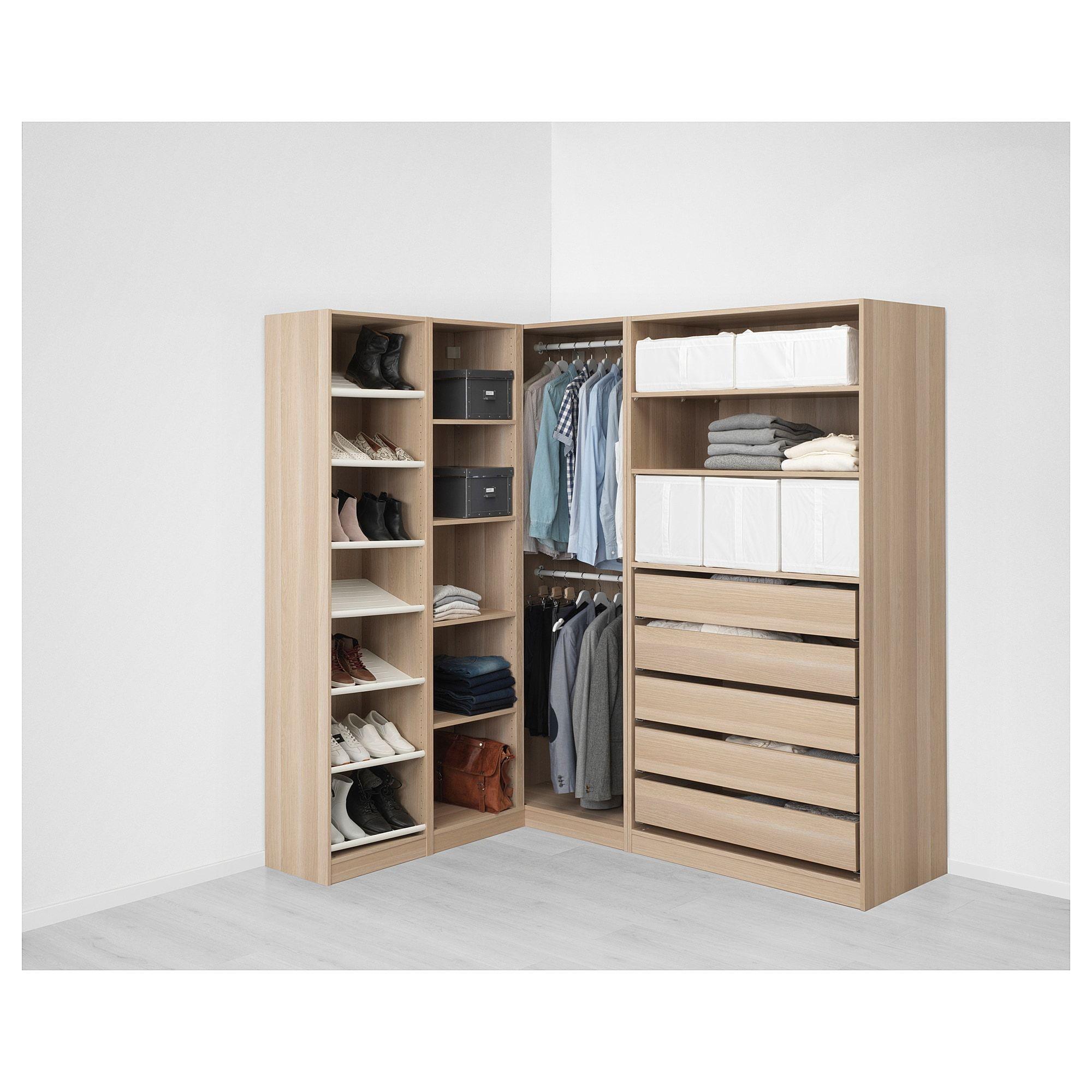 Pax White Stained Oak Effect Corner Wardrobe 160 188x201 Cm Ikea Kleiderschrankaufbewahrung Ikea Kleiderschrank Eckkleiderschrank