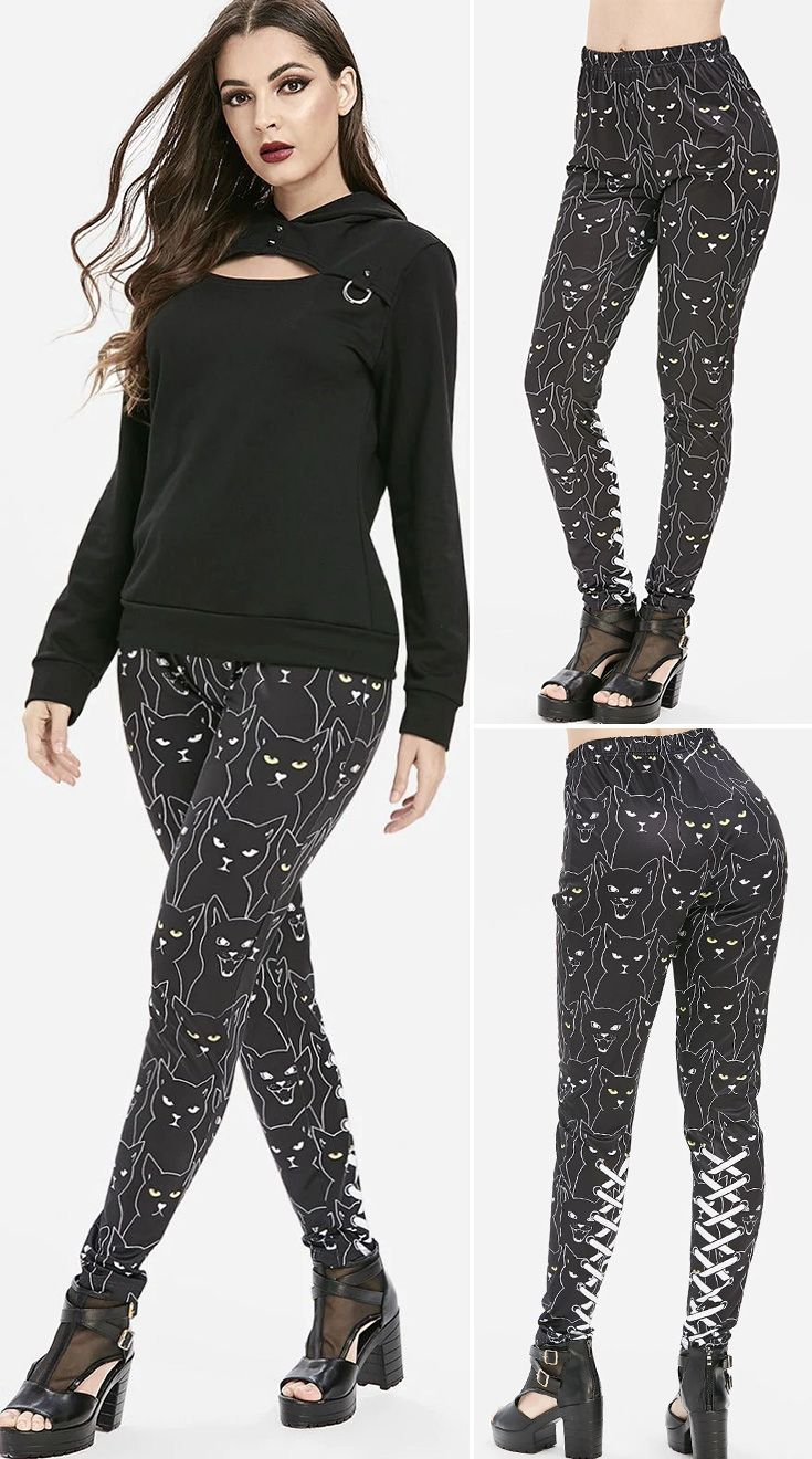 3D Lace Up Cat Print High Waisted Skinny Pants HOT SALES