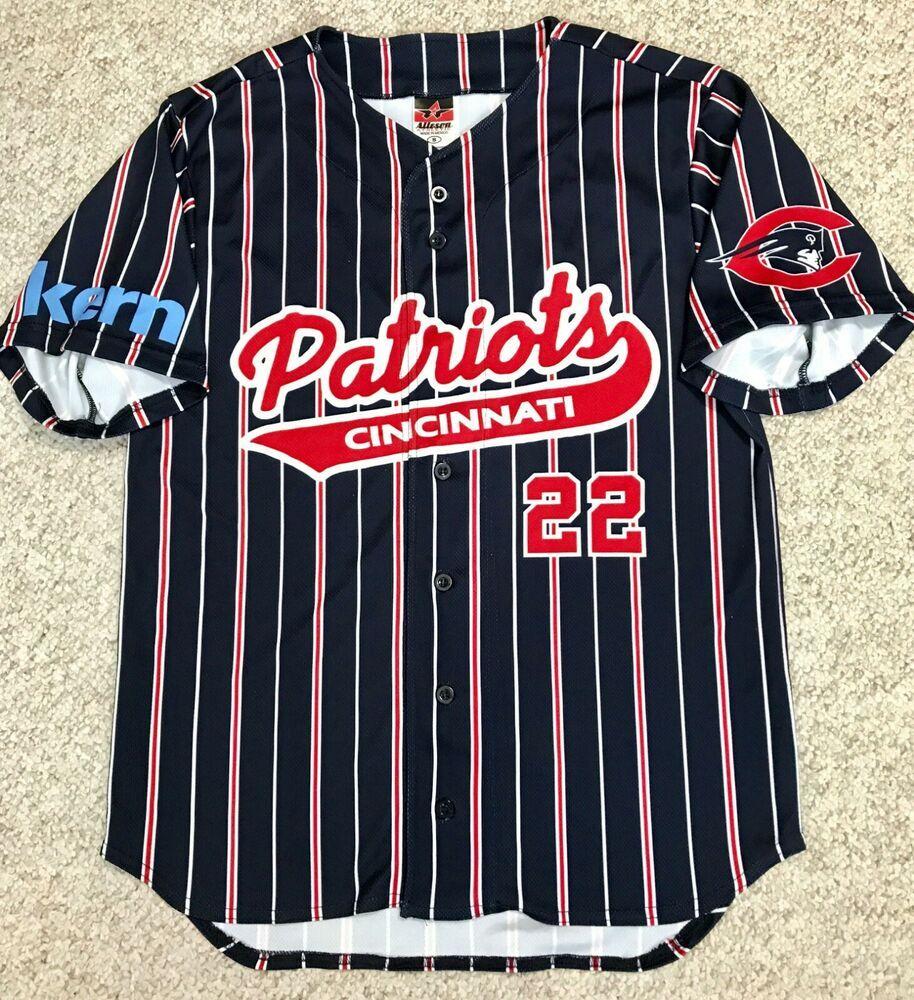 Cincinnati Patriots Baseball Jersey Navy Blue Red Pinstripe Button Front Men S M Allesonathletic Jersey ก ฬา
