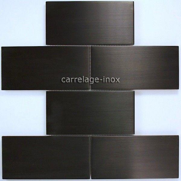 mosaique en inox noir pour mur de cuisine et credence de cuisine brique150 noir