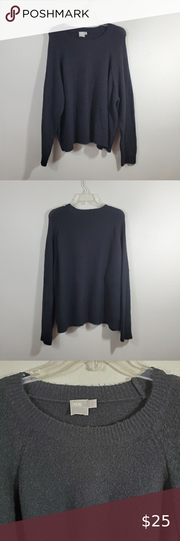 Asos Black Fuzzy Scoop Neck Sweater Plus Size 20 Excellent preowned condition / No flaws.  Size 20. Soft & fuzzy sweater with lots of stretch. Thin & lightweight, not thick & heavy. So comfy & cozy!  -Approximate measurements: 28