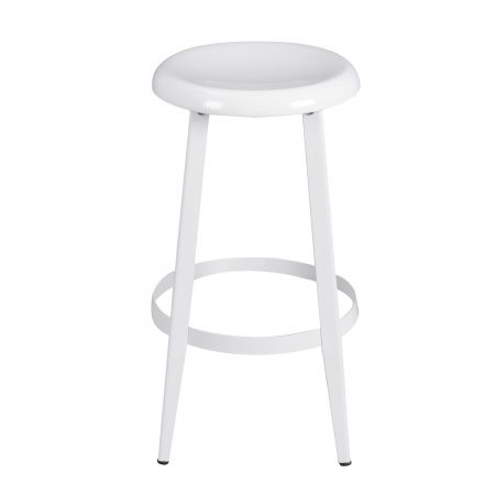 Joveco Metal Round Top Backless 26 Inch Stool White High Stool Stool Metal Stool