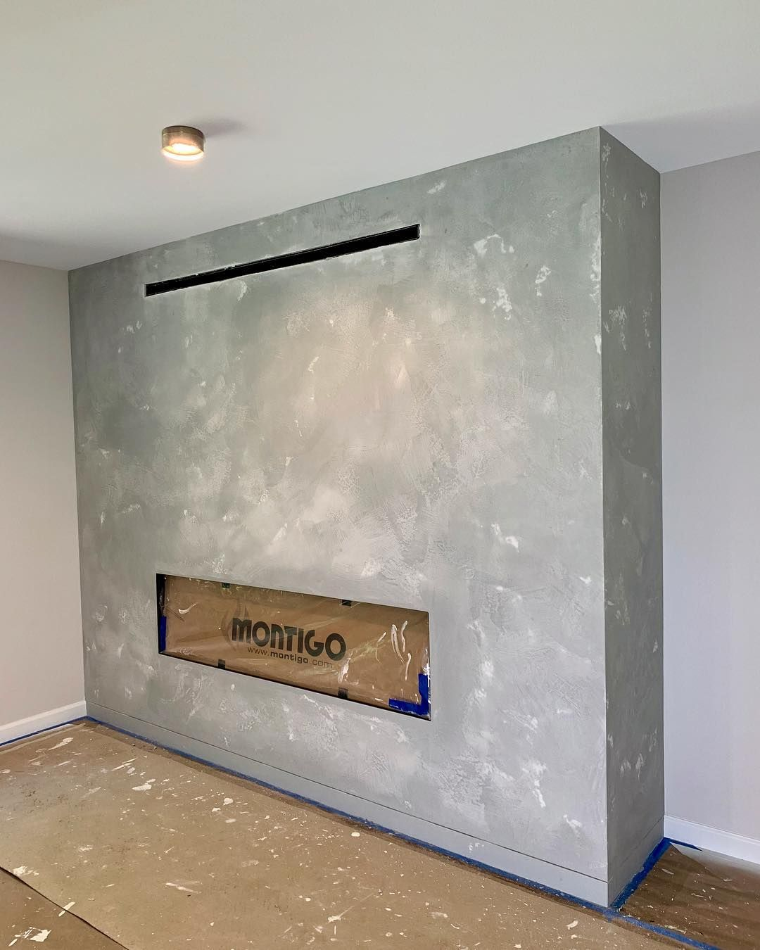 Example From Venetian Plaster Art Of A Stone Finish Look Using Light Gray Marmo Antico Super Natural Soft And O Polished Plaster Light Grey Venetian Plaster