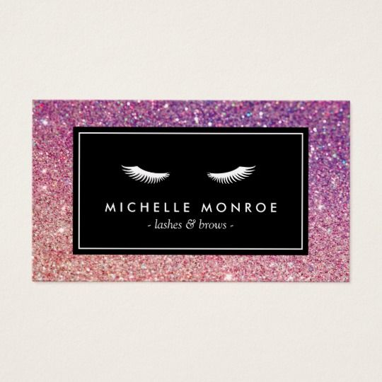 Eyelashes with purplepink glitter business card pink glitter eyelashes with purplepink glitter business card colourmoves