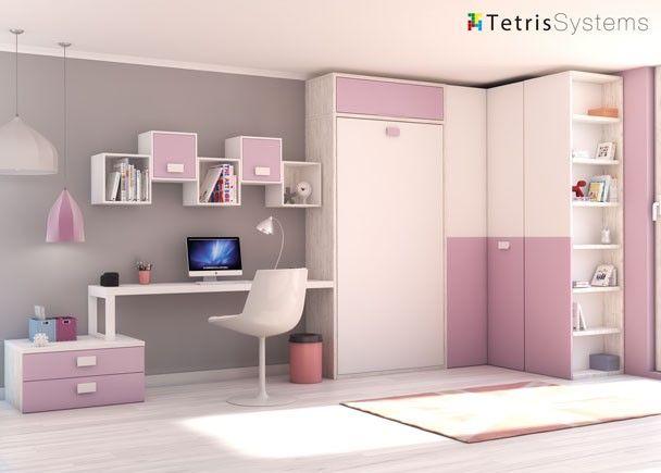 Habitaci n con cama abatible vertical y mesa mobiliario for Mobiliario habitacion juvenil