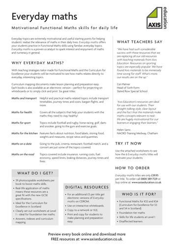 Functional Maths - Everyday maths | Teaching maths | Pinterest ...