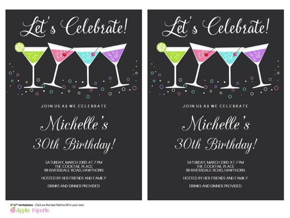 30th birthday invitation 40th birthday invitation cocktail 30th birthday invitation 40th birthday by tinyconfetti on etsy stopboris Choice Image