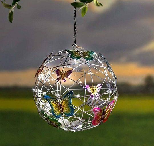 Solar lighted hanging mesh orb