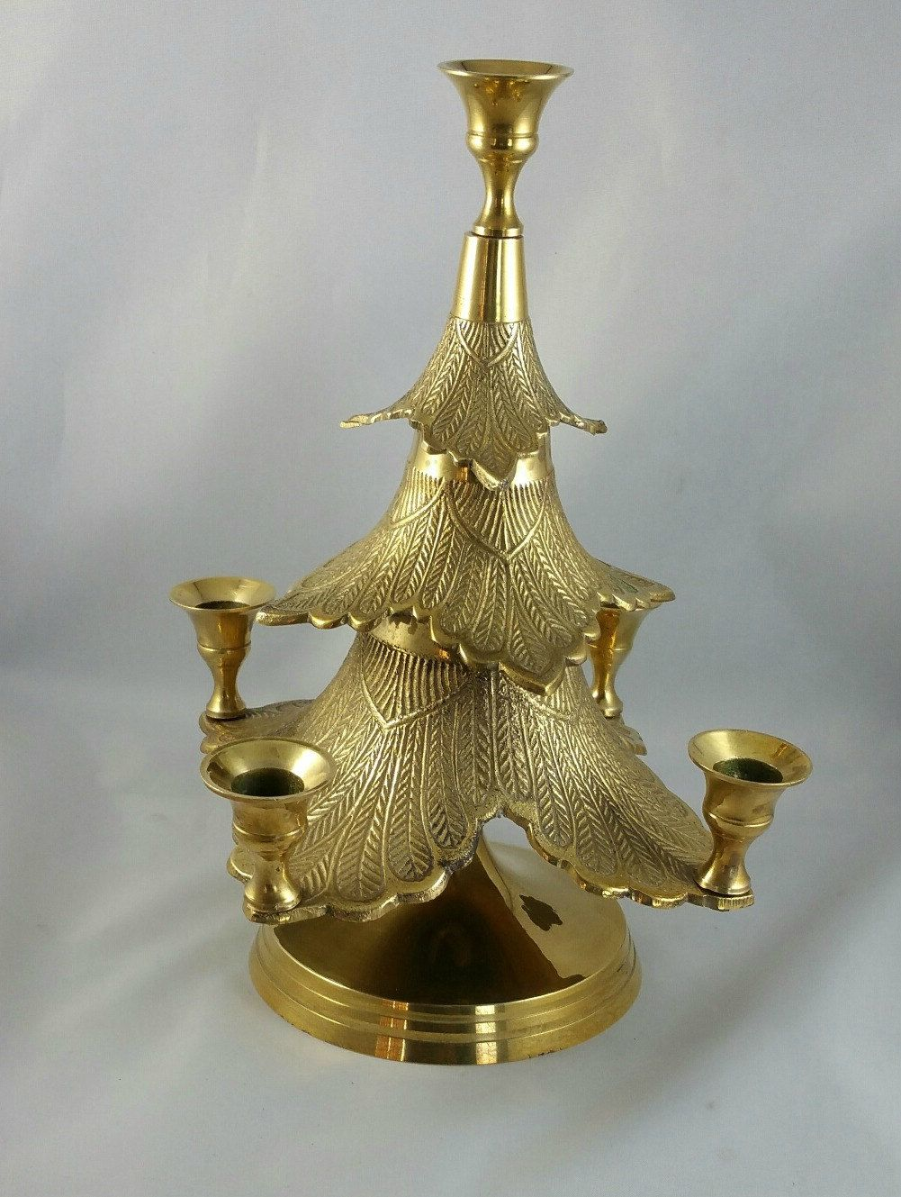 Vintage Brass Christmas Tree Candle Holder.Vintage Brass Christmas Tree Candelabra Christmas Tree