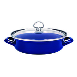 Chantal's - Enamel-On-Steel Covered Sauté & Serve Pan (3 qt.)  These pans are great they cook everything beautifully and are a great time saver, because they allow you to cook and serve in the same container.    They also give you peace of mind about the true flavor of your dishes will come shining through, because they don't react with the food being prepared.