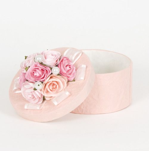 Shabby chic pink hat box