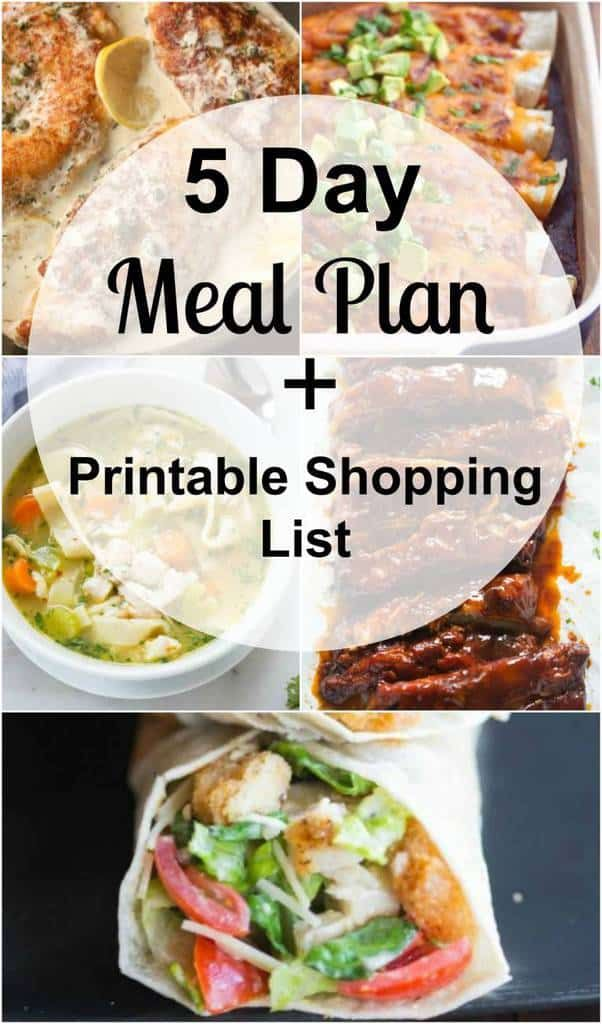 a meal plan with easy and family friendly dinners as well as a free printable shopping list so that you always have an answer for that nagging question