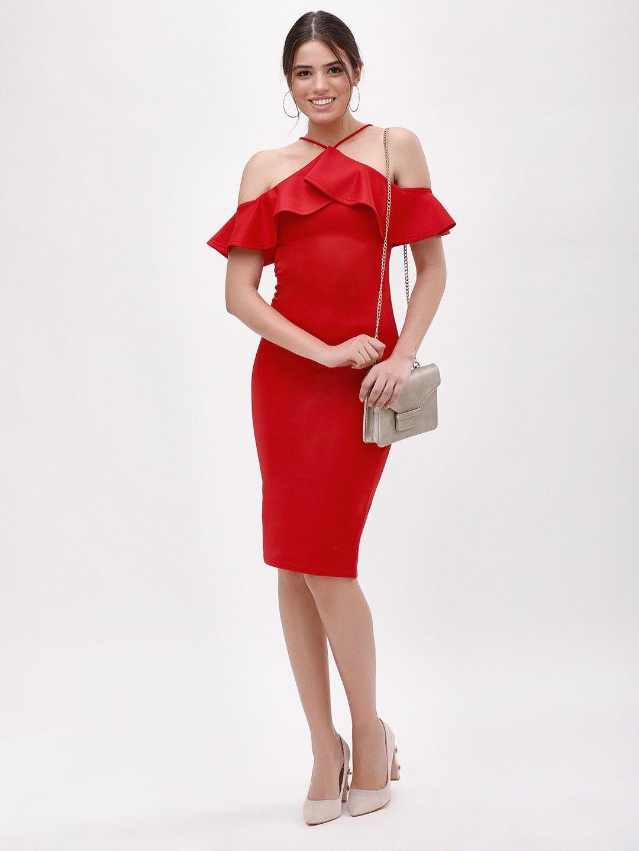 a3c80dbf0da Buy Ruffle Strappy Bodycon Dress For Women - Women s Fiery Red Body Con Dresses  Online in India