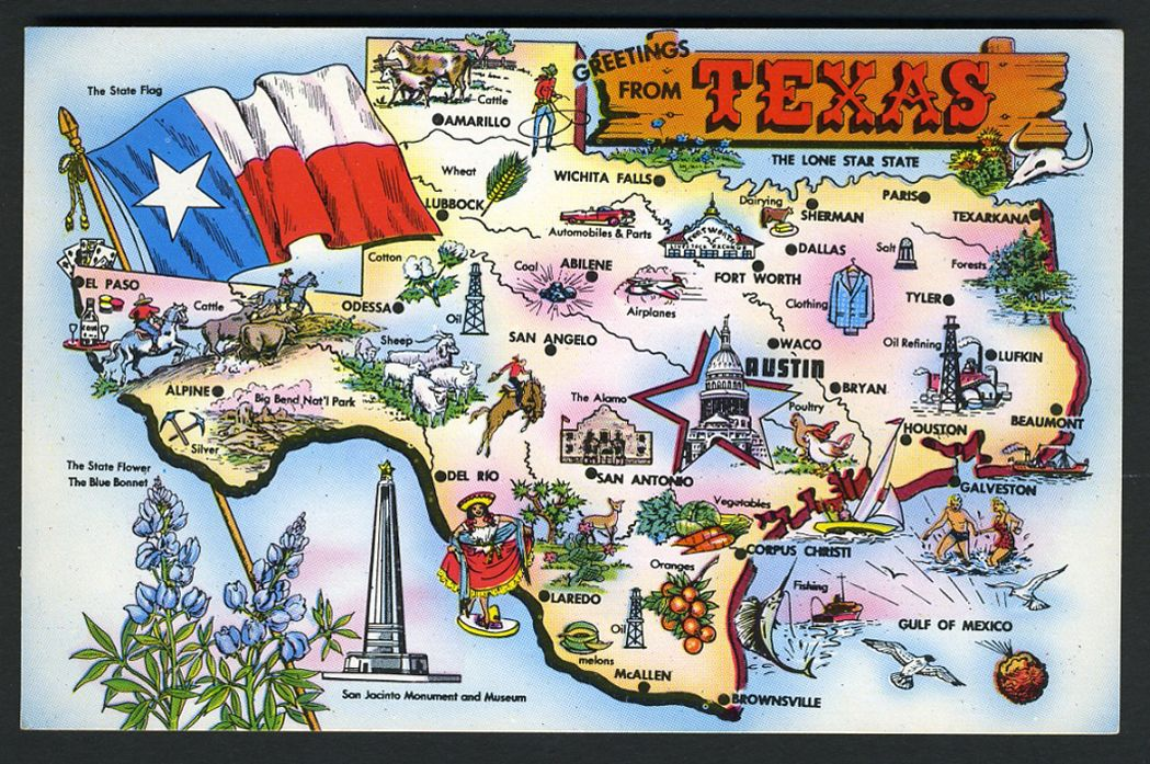 TEXAS POSTCARD: 1960 MAP OF TEXAS , MAJOR CITIES AND ATTRACTIONS ...
