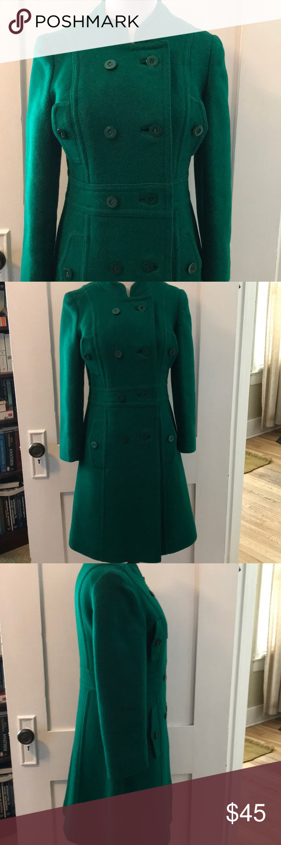 b635421c94 Vintage Saks Fifth Avenue green wool pea coat Beautiful wool pea coat.  Peacock green color. Lined. Pockets. Has all buttons. Does have a minor  moth eaten ...