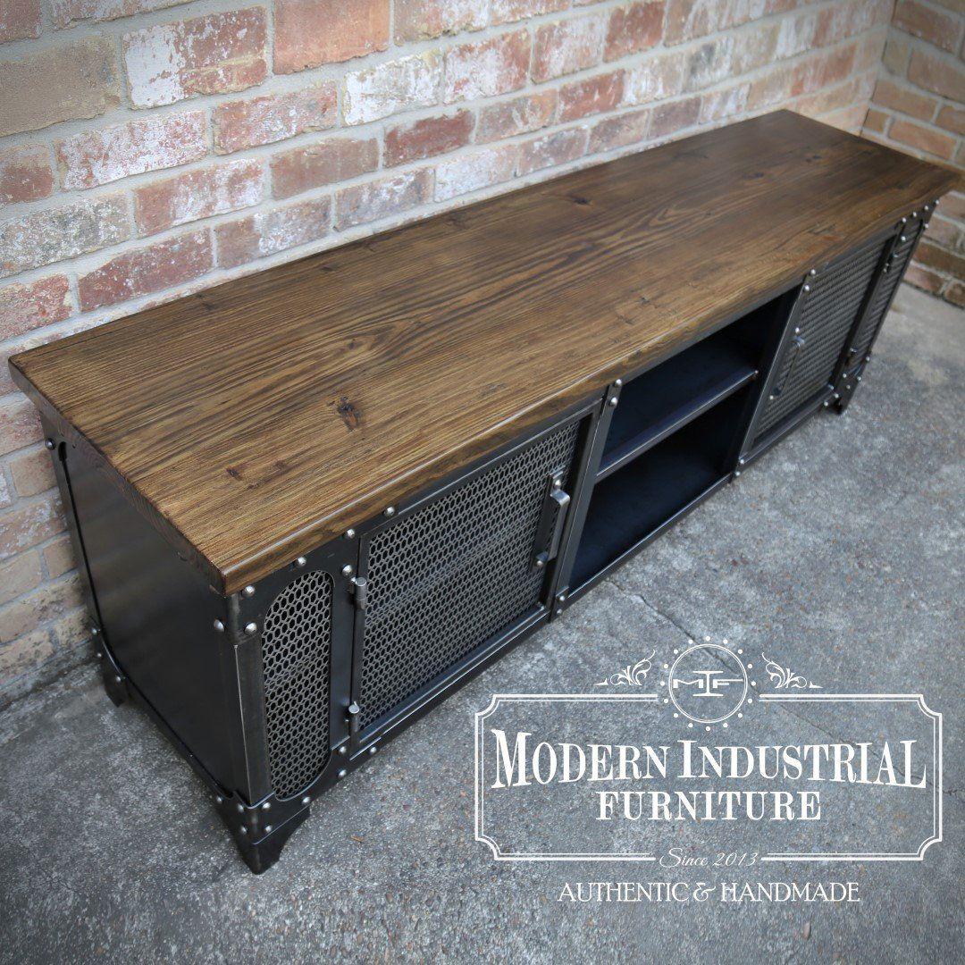 Modern Industrial Media Console Anvil Steel Tv Stand Etsy Industrial Media Console Tv Stand Cabinet Modern Industrial