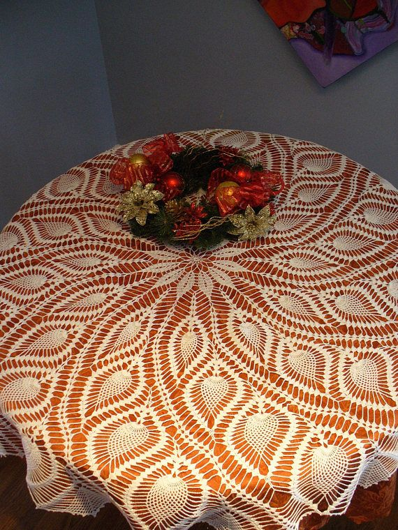 This Beautiful Handmade Tablecloth Is Made From White Cotton Thread, Size  10. This Elegant Tablecloth Will Look Beautiful On Any Table Just In Timeu2026