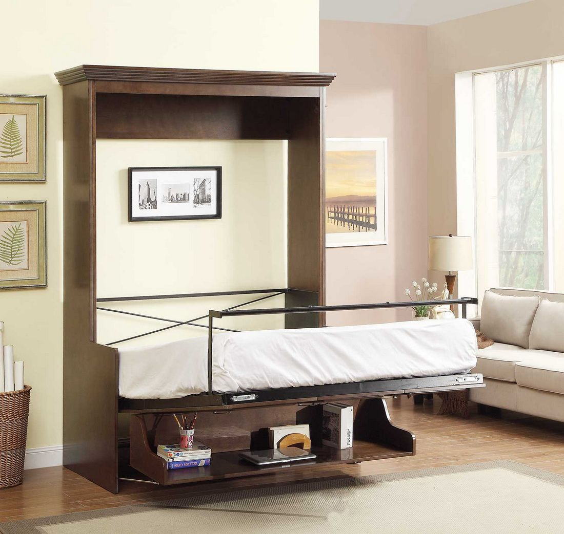 Natanielle Full Murphy Bed With Desk And 2 Storage Cabinets In Walnut By Manhattan Design