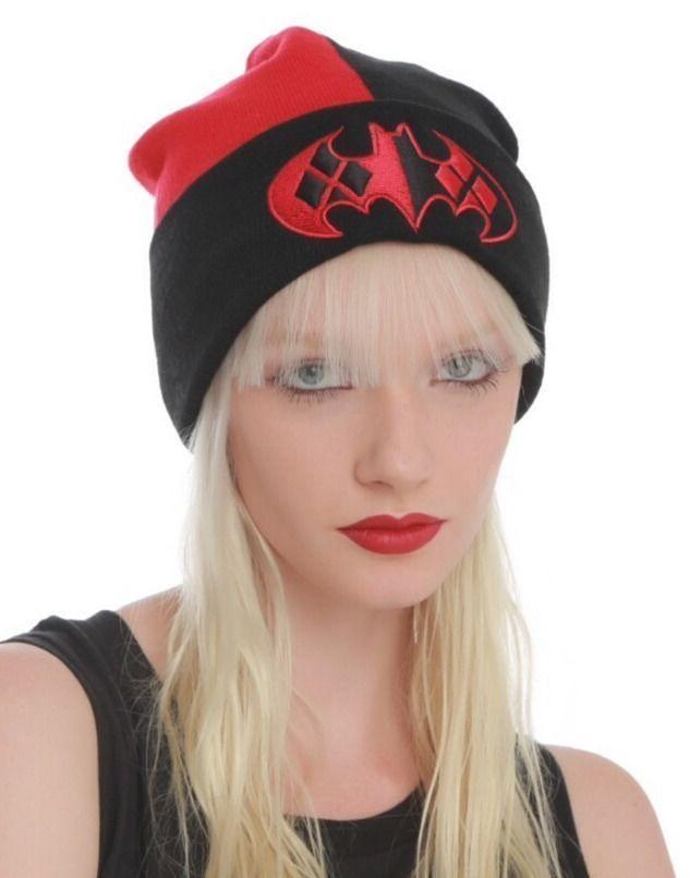 20c68a7caaa DC Comics Batman Logo Harley Quinn Beanie Hat Ski Cap Black Red One Size  NWT!  DCComics  Beanie