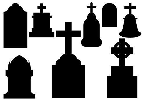 Tombstone Silhouettes Vectorsilhouette Clip Art Halloween Vector