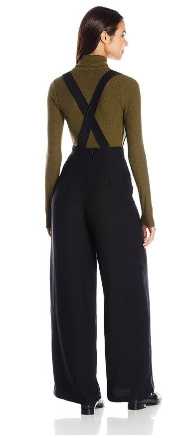 c041a46acfc1 Black wide leg pants with suspenders