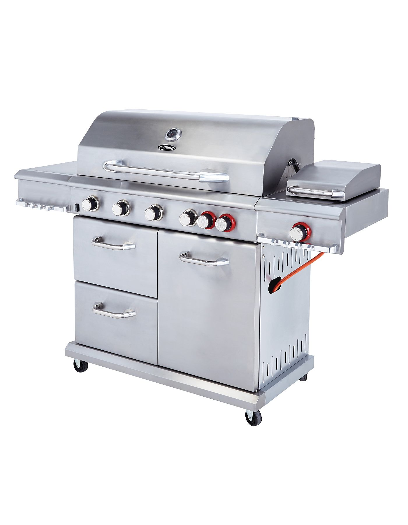 uniflame dual sear 6 burner side gas grill bbqs. Black Bedroom Furniture Sets. Home Design Ideas