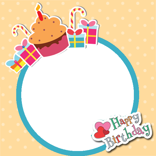 Happy Birthday Frame With Cup Cake And Your Photo