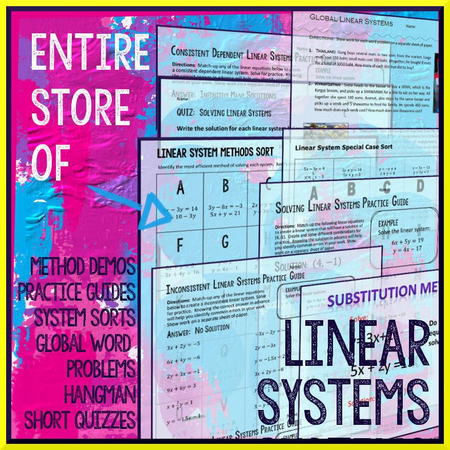 Systems of Equations Package (Linear Systems) | Linear system, Word ...