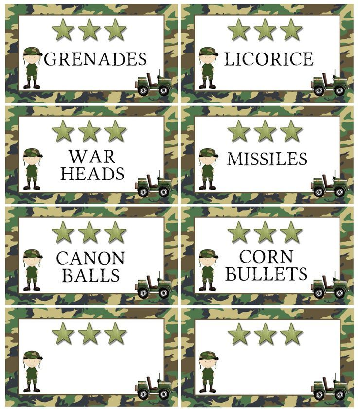 Free printable army food labels also available blank