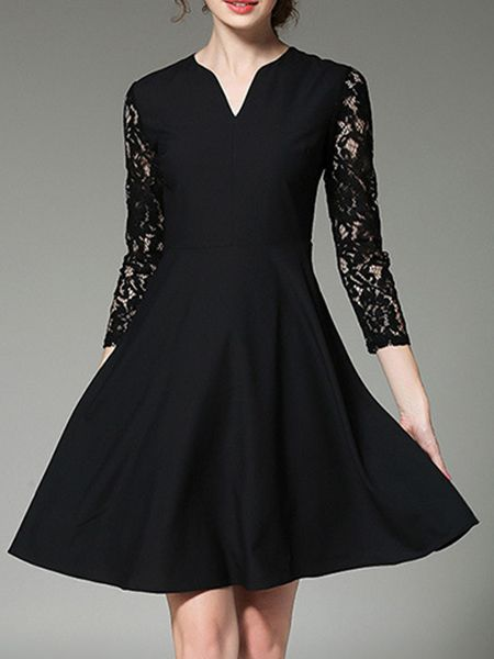 91d7227321 Shop Black V Neck Contrast Lace Sleeve Dress online. SheIn offers Black V  Neck Contrast Lace Sleeve Dress   more to fit your fashionable needs.