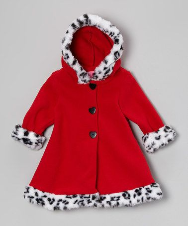 ac8de0703 Look at this  zulilyfind! Red Faux-Fur Hooded Swing Coat - Infant ...