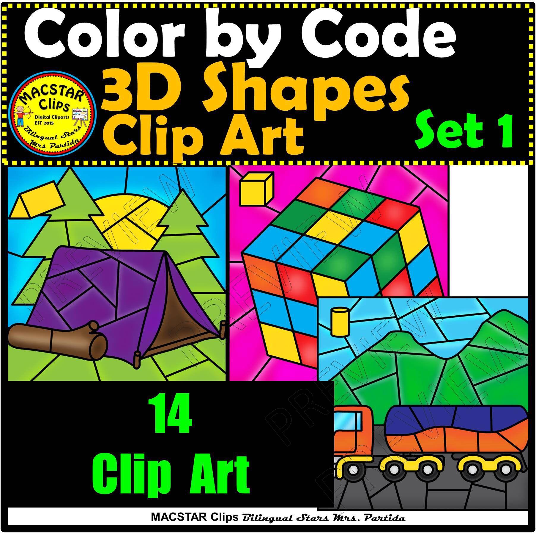 3d Shapes Color By Code Clip Art Set 1 Images Geometry