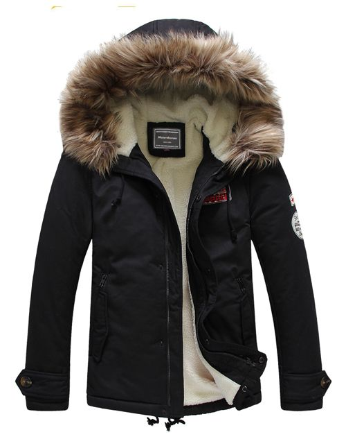 Mens Winter Jacket Hooded Fur Collar Thick Parka Coat Velvet Lining Warm Coats p