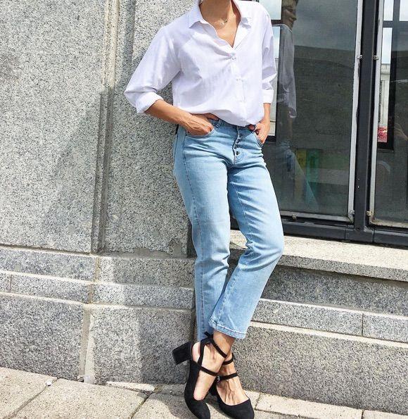 Look simple et chic avec un jean bleu clair \u003e\u003e outfit ootd