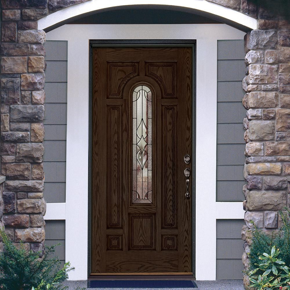 Feather River Doors 37 5 In X 81 625 In Stellar Patina Center Arch Stained Walnut Oak Right Hand Inswing Fiberglass Pr Door Glass Design Front Door Door Redo