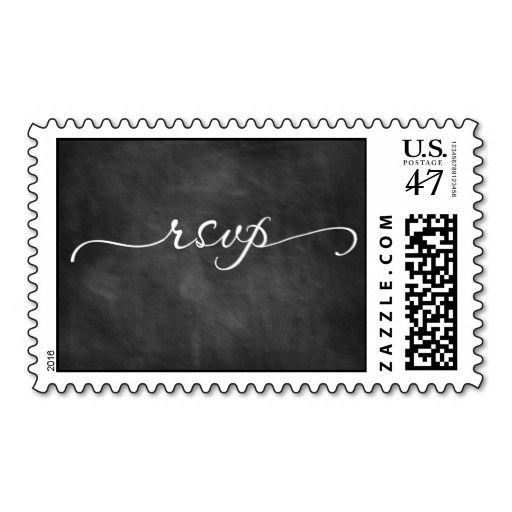 RSVP Chalkboard Calligraphy Wedding Postage