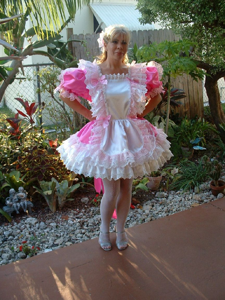 Blue frilly lace pvc maid pinny apron fancy dress sissy