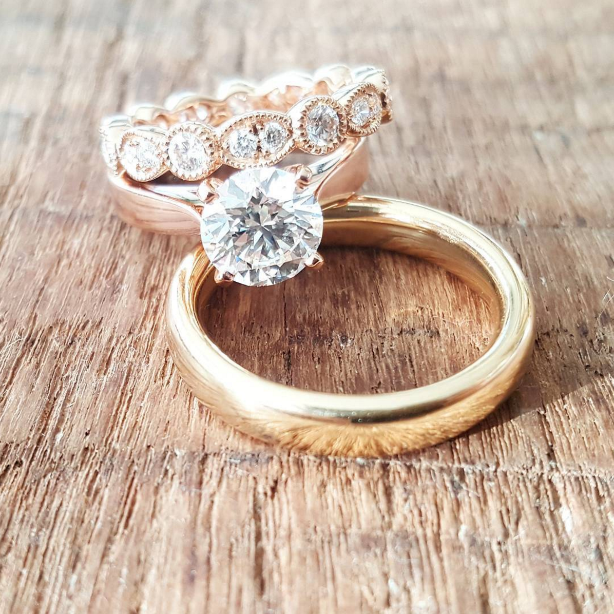 Rose gold and gold engagement and wedding ring inspiration from