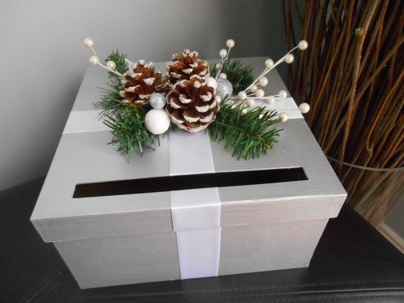 Items similar to Winter Wonderland Wedding Card Box Silver and White with Pinecones Snowflakes on Etsy#box #card #etsy #items #pinecones #silver #similar #snowflakes #wedding #white #winter #wonderland