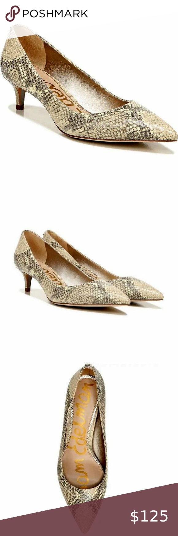 Sam Edelman Dori Kitten Heel Pumps In Snake Print In 2020 Pumps Heels Kitten Heels Kitten Heel Pumps