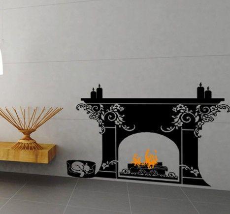 Fireplace Wall Decals Vinyl Wall Art Decals Stickers Murals - Vinyl wall decals abstract
