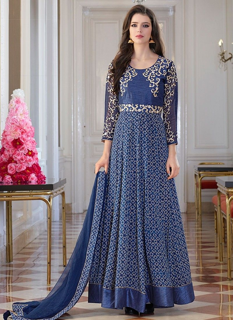 Shop online blue georgette bhagalpuri silk longlengthsalwarsuits