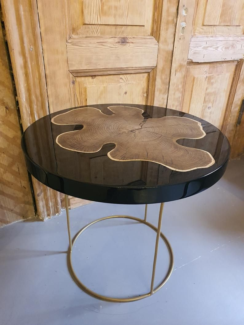 Acacia Coffee Table With Black Epoxy Resin Round Table With Etsy Coffee Table Wood Coffee Table Acacia Wood Table [ 1059 x 794 Pixel ]