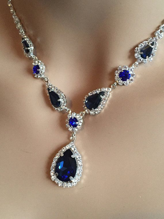 Bridesmaid Jewelry Set Blue Necklace And Earring Set Bridesmaid Necklace Blue Bridesmaid Earrings Blue Jewelry Set Wedding Jewelry Set Blue