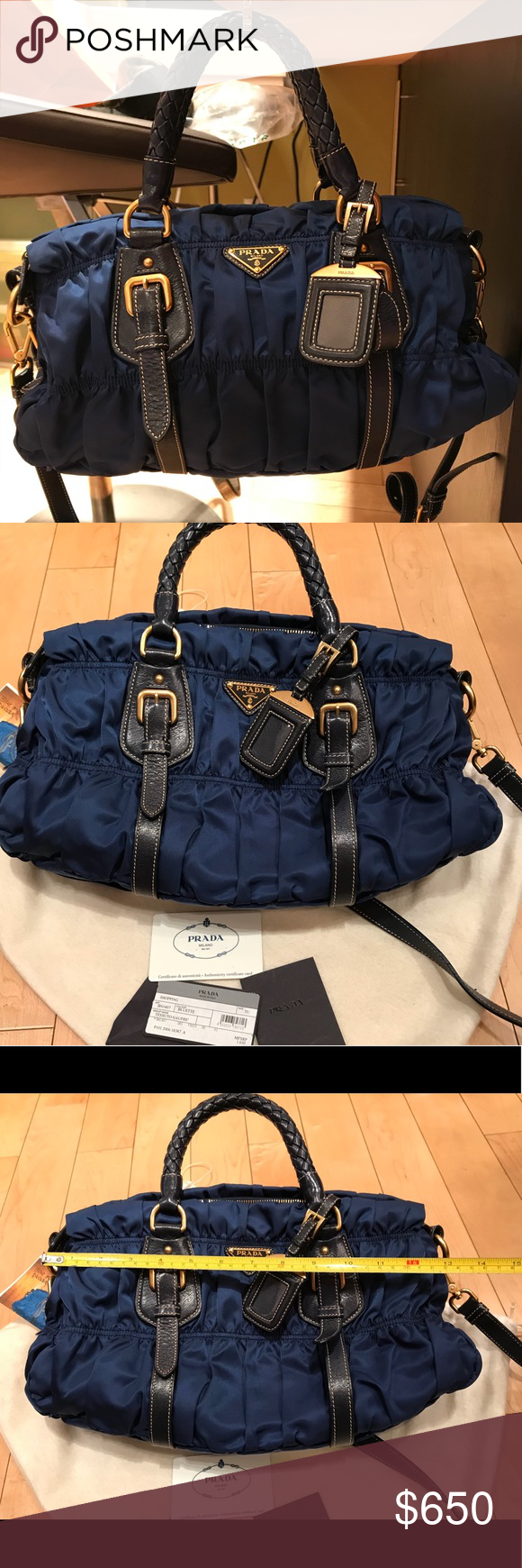 515d719fcfe2 Prada sapphire blue nylon bag Prada sapphire blue nylon bag crossbody with  woven weave handles. In excellent condition. No box avail but dust bag  included