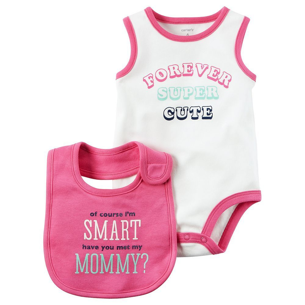 "Baby Girl Carter's ""Forever Super Cute"" Bodysuit & Bib Set, Size: 24 Months, White Oth"
