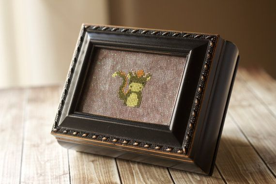 cross stitch jewelry box  rectangle Vintage by thecottageneedle