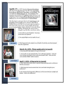 Apollo 13 Movie worksheet | U.S. History Movie Assignments ...