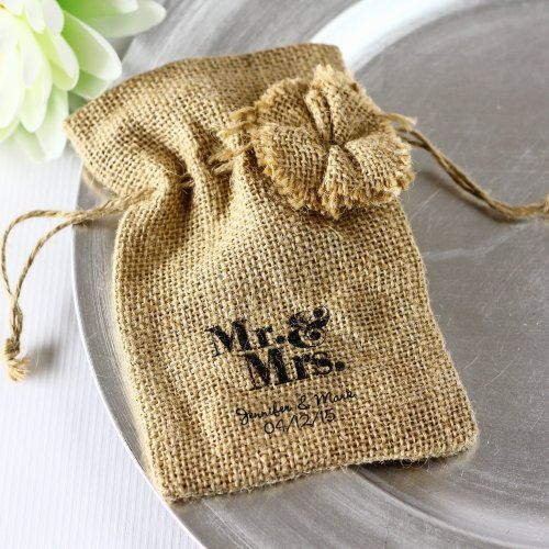 Personalized Burlap Favor Bags With Drawstring Ties By Beau Coup